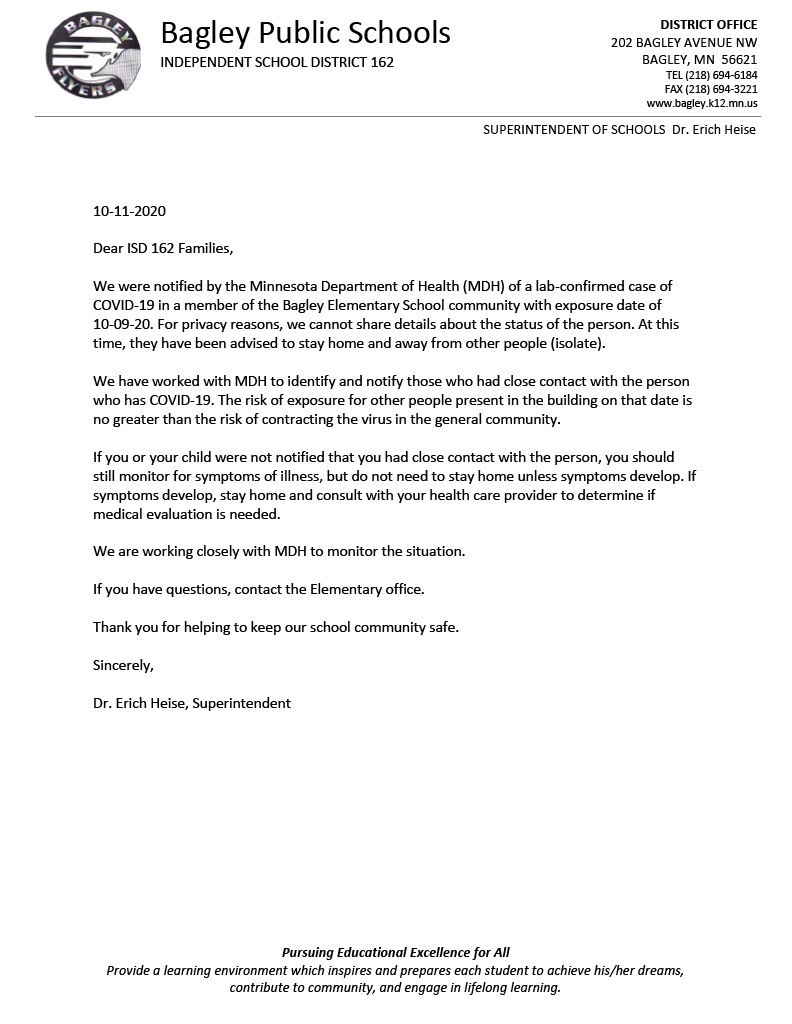 notice of covid letter