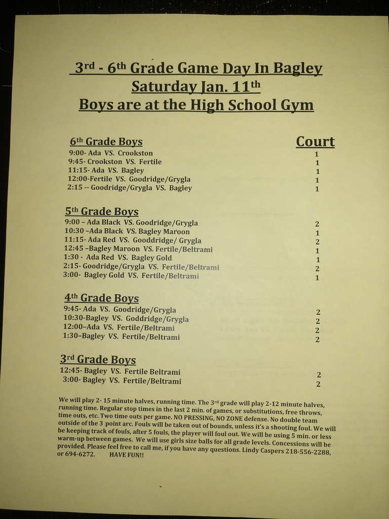 boys and girls game day schedule