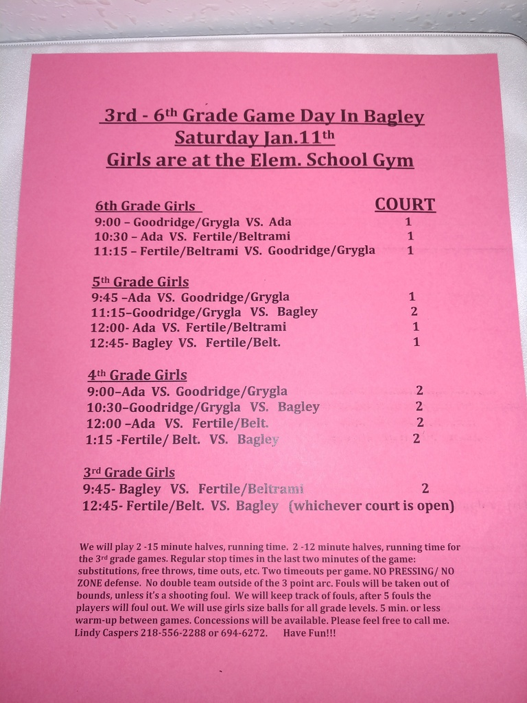 girls and boys game day schedule