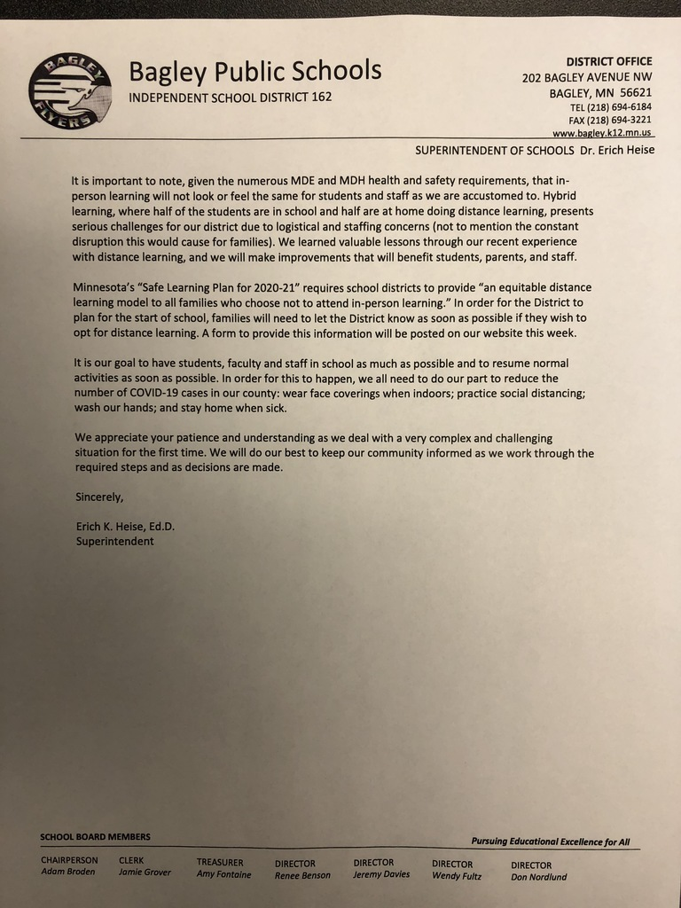 Letter from the Superintendent, Dr. Erich Heise